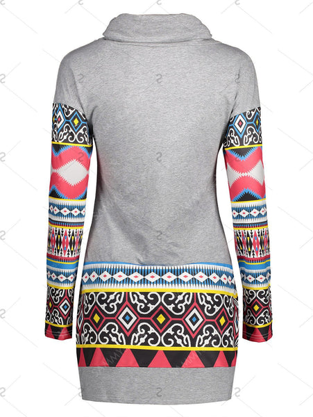 Long Sleeve Tribal Print Mini Sheath Dress for $0.25 at THOKO PLACE