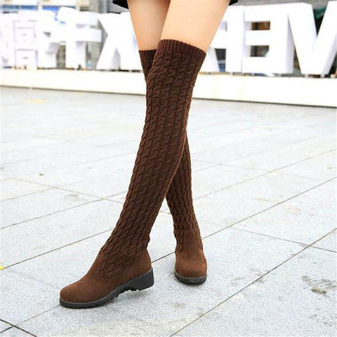 Fashion Knitted High Boots for $0.39 at THOKO PLACE