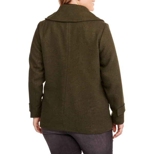 Women's Plus-Size Faux Wool Military Peacoat for $0.90 at THOKO PLACE