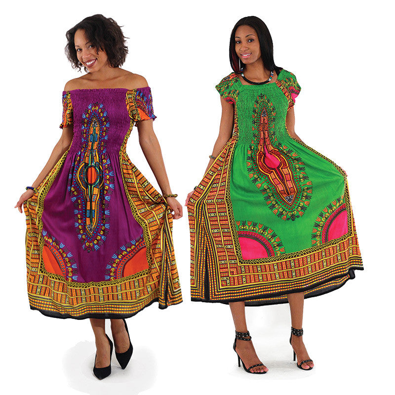 Traditional Print Elegance Dress: (C-WF908) for $0.39 at THOKO PLACE