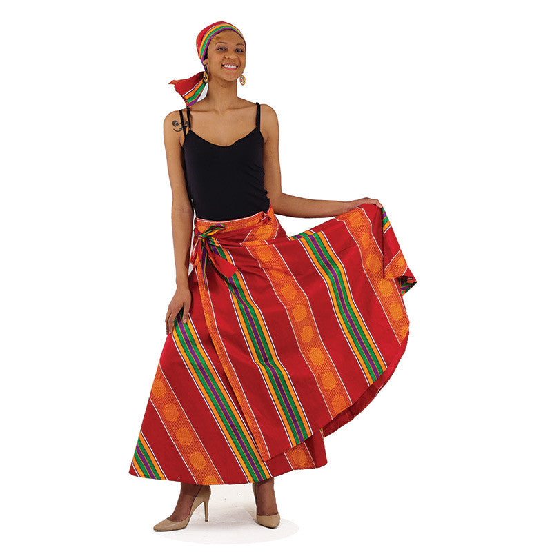 Kente Wrap Burgundy Skirt for $0.41 at THOKO PLACE