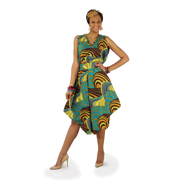 African Print Umbrella Dress w/Belt & Scarf for $0.44 at THOKO PLACE