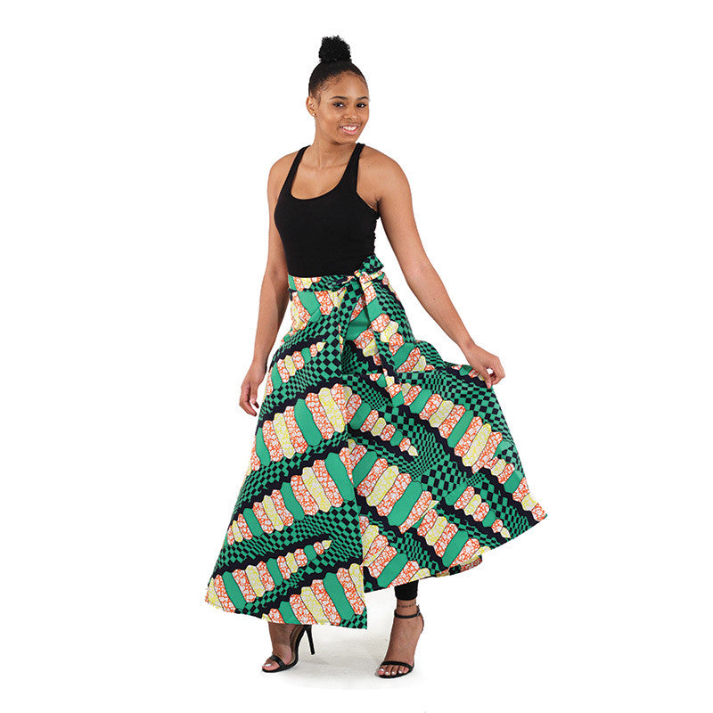 African Print Green Wrap Skirt for $0.35 at THOKO PLACE