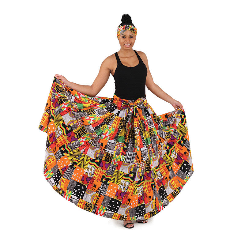 African Multi-Print Long Skirt for $0.45 at THOKO PLACE