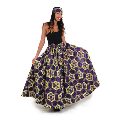 Purple/Yellow African Print Long Skirt