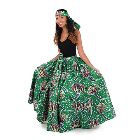 Green/White African Long Print Skirt