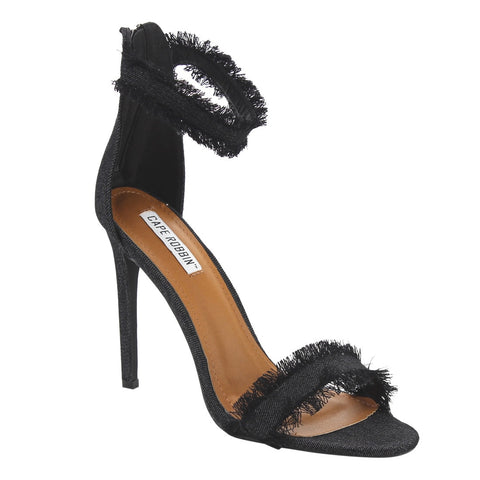 Cape Robbin Black Denim Fringed Ankle-Cuff High-Heels for $0.58 at THOKO PLACE