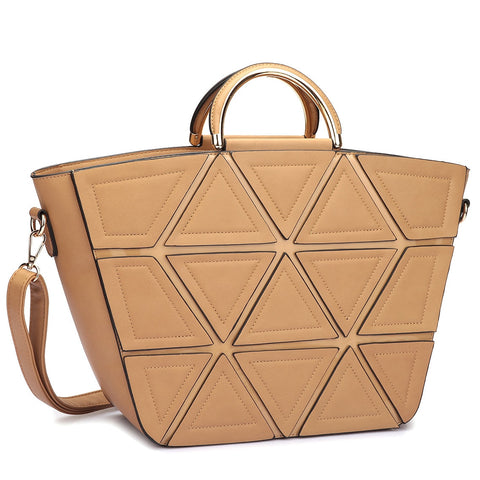 Dasein Front Crosshatch Patch Round Gold Trim Handle Tote Bag for $0.88 at THOKO PLACE
