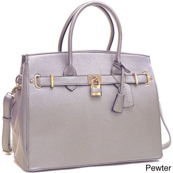 Dasein Padlock and Key Satchel Handbag with Removable Shoulder Strap for $0.89 at THOKO PLACE
