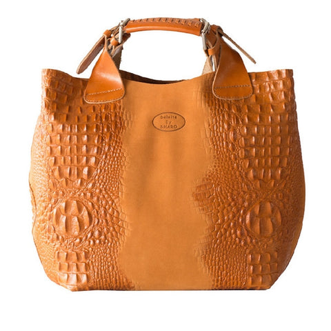 Deleite by Sharo Apricot Italian Leather Handbag Tote Bag for $2.69 at THOKO PLACE