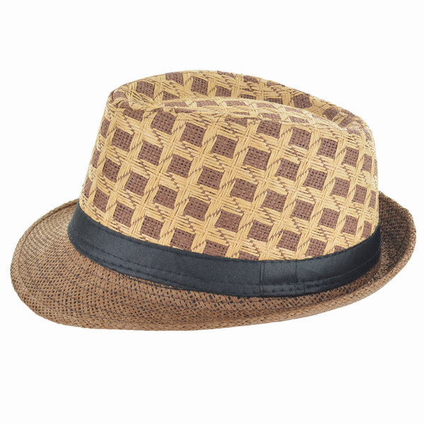 Faddism Fashion Brown Pattern Fedora Hat for $0.30 at THOKO PLACE