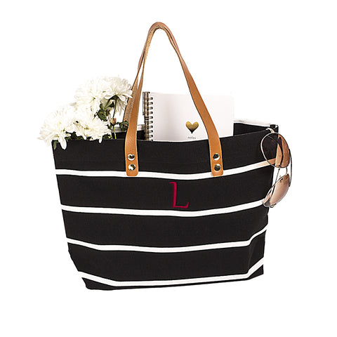 Black Personalized Black Striped Tote with Leather Handles for $0.49 at THOKO PLACE