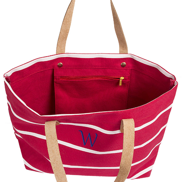Red Personalized Coral Striped Tote with Leather Handles for $0.59 at THOKO PLACE