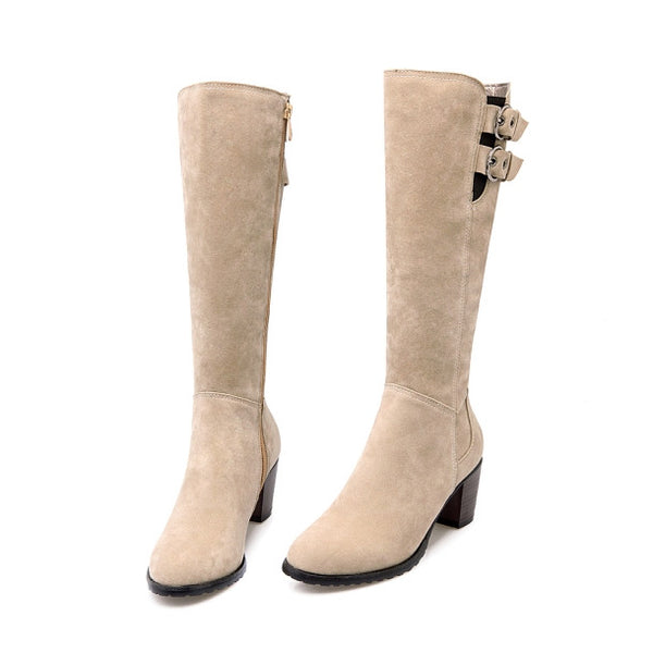 Med Square Round Toe Knee-High Heel for $0.59 at THOKO PLACE