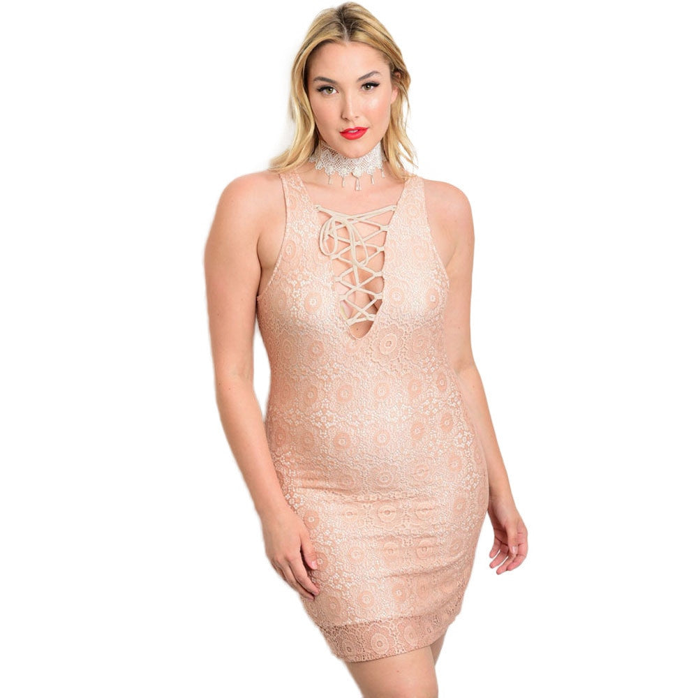 Women's Plus Size Sleeveless Lace Bodycon Dress for $0.49 at THOKO PLACE