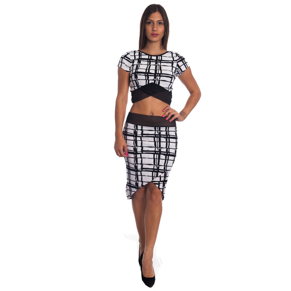 Sexy Bodycon Crop Top and Miniskirt Outfit Dress 2-piece Set for $0.46 at THOKO PLACE