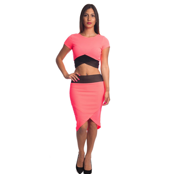 Sexy Bodycon Crop Top and Mini Skirt Outfit Dress 2-piece Set for $0.46 at THOKO PLACE