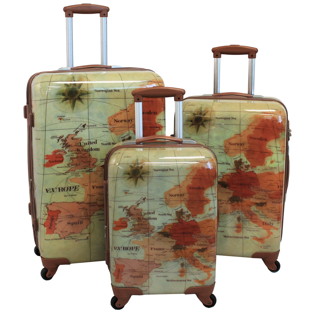 World Traveler Euro 3 Piece Expandable Lightweight Hardside Spinner Lock Luggage Set for $2.99 at THOKO PLACE