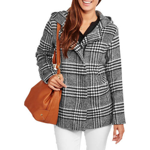 Faux Wool Zip-Front Hooded Coat for $0.29 at THOKO PLACE
