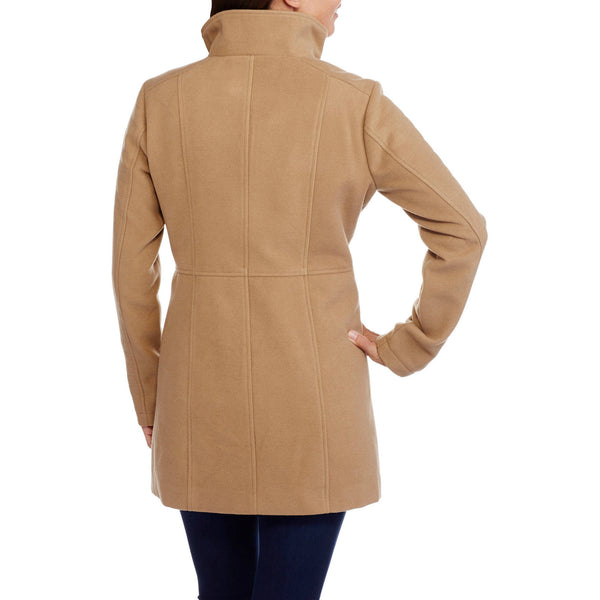 Women's Faux Wool Double-Breasted Peacoat with Stand Collar for $0.79 at THOKO PLACE
