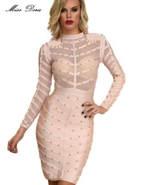 Nail Beaded Mesh Studded Sexy Bodycon Dress for $0.59 at THOKO PLACE