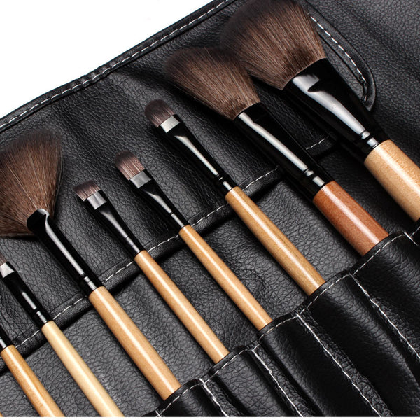Professional 12Pcs Face Makeup Brush Set with Black Leather Bag for $0.14 at THOKO PLACE