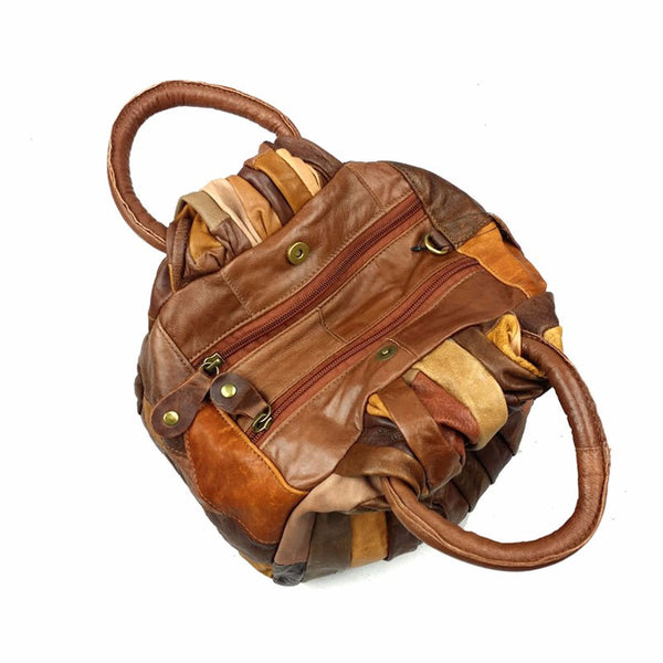 Casual Patchwork Vintage Leather Handbag for $1.36 at THOKO PLACE