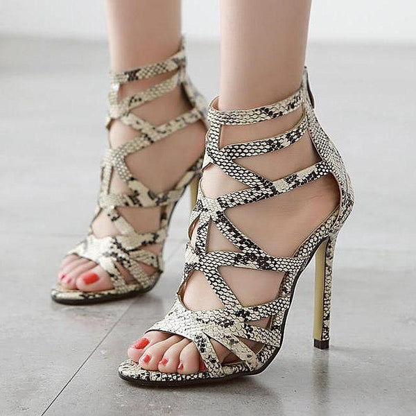 Gladiator High Heels Snakeskin Leather Open Toe Heels for $0.50 at THOKO PLACE