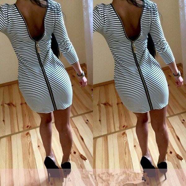 Women Casual Sexy Backless Zipper Dress for $0.17 at THOKO PLACE