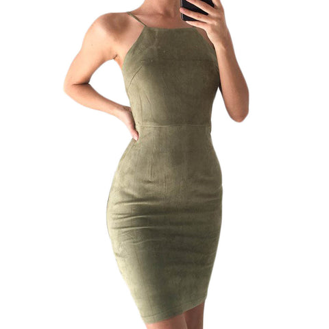 Suede Bodycon Mini Dress