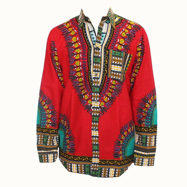 Long Sleeve African Traditional Print Dashiki Shirt