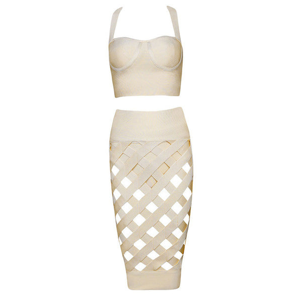Hollow Out Spaghetti Strap Lattice Padded Rayon 3 Pc Bandage Dress for $0.41 at THOKO PLACE