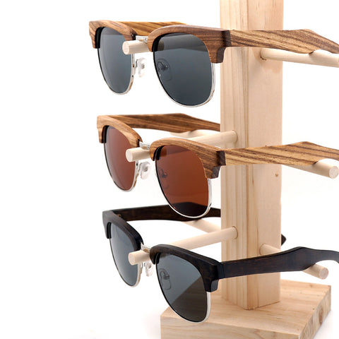 Semi Enclosure Unisex Wooden Stripe Sunglasses for $0.39 at THOKO PLACE