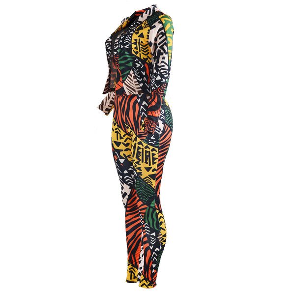 Fashion Digital Print Ladies Pants and Blazer Set