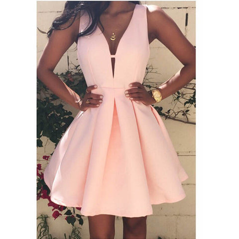 V-Neck Sleeveless Pink Evening Party Dress for $0.13 at THOKO PLACE