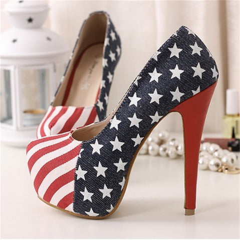 American Flag Print Pumps