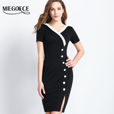 Half Sleeve Slim V-neck Stylish Button Women Pencil Casual Dress for $0.49 at THOKO PLACE