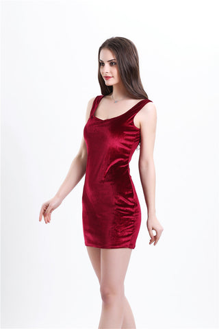 Velvet Midi Party Dress for $0.19 at THOKO PLACE