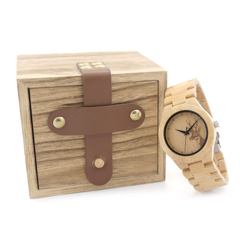 Womens Deer Wooden Bamboo Wrist Watch for $0.51 at THOKO PLACE