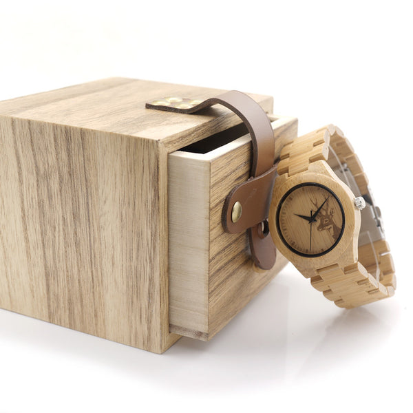 Womens Deer Wooden Bamboo Wrist Watch for $0.44 at THOKO PLACE