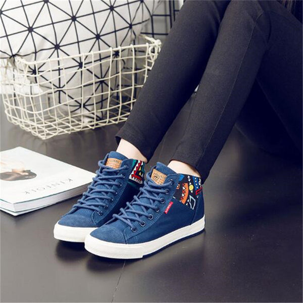Women Casual Platform Denim Shoes