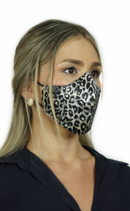 Face Mask Animal Print Silver
