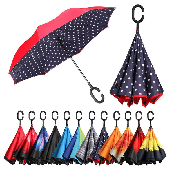 Smart-Brella Double Layer Inverted Umbrella Reverse Folding  Windproof