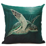 Ocean Style Watercolor Sea turtle Throw Pillow Cushion Cover Home Decor Printed Linen Square Home Decor Pillowcase Housse