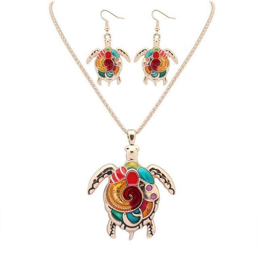 Turtle Pendant Necklace & Drop Earrings Set