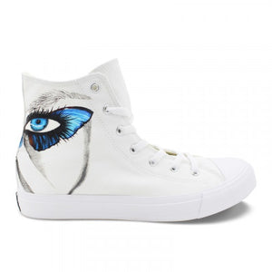 Wen's  Custom Hand Painted Butterfly Eye Women's  Canvas Sneakers