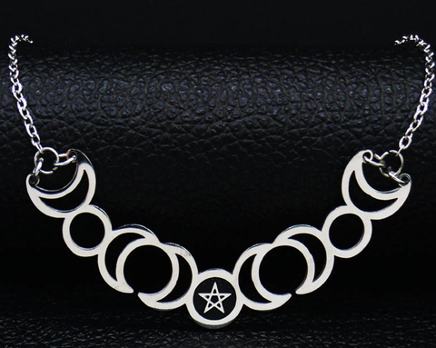 Sun Moon Stainless Steel Necklace