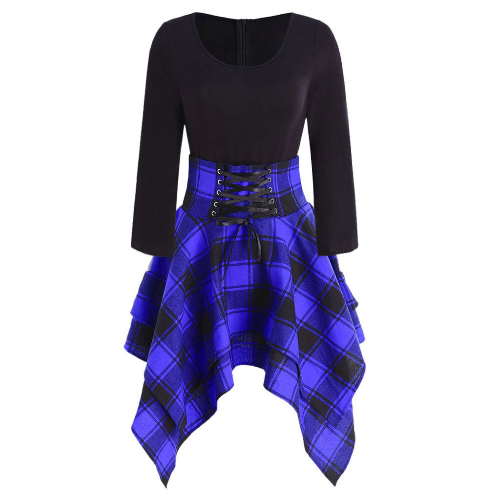 Gothic Vintage Style Mini Plaid Dress