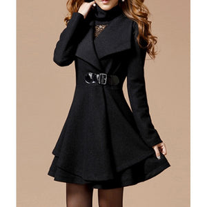 Noble Style Turn-Down Collar Long Sleeve Women's Coat