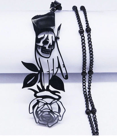 Skull Rose  Stainless Steel Necklace